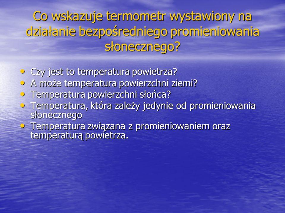 Co wskazuje termometr wystawiony na działanie bezpośredniego promieniowania słonecznego? Czy jest to temperatura powietrza? Czy jest to temperatura po