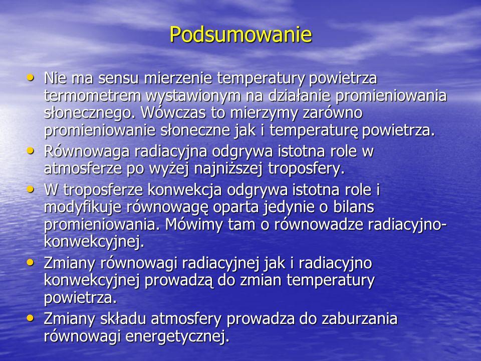 Podsumowanie Nie ma sensu mierzenie temperatury powietrza termometrem wystawionym na działanie promieniowania słonecznego. Wówczas to mierzymy zarówno