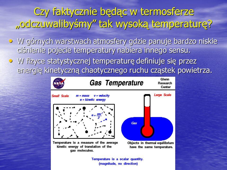 Czy faktycznie będąc w termosferze odczuwalibyśmy tak wysoką temperaturę? W górnych warstwach atmosfery gdzie panuje bardzo niskie ciśnienie pojecie t