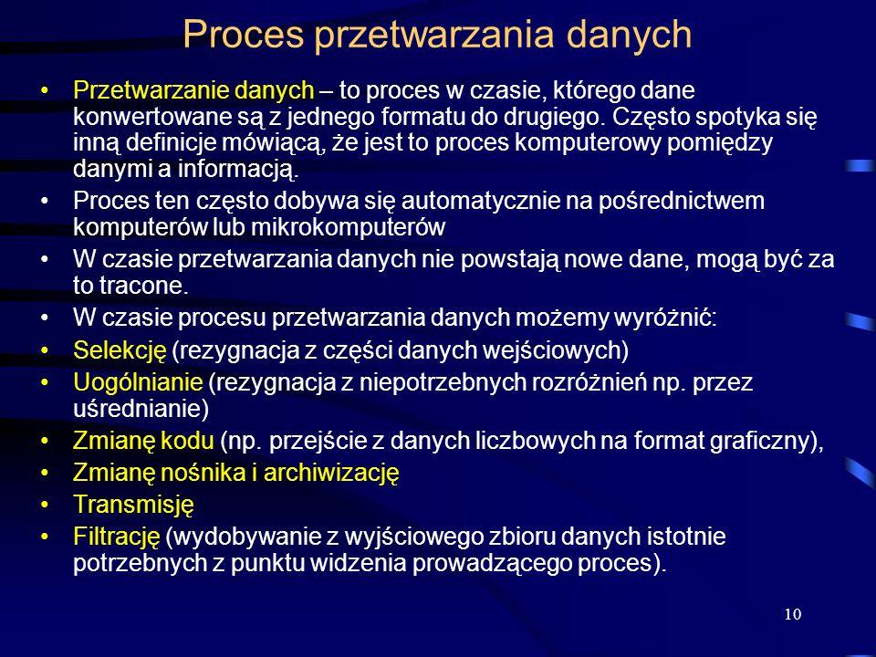 10 Proces przetwarzania danych Przetwarzanie danych – to proces w czasie, którego dane konwertowane są z jednego formatu do drugiego.