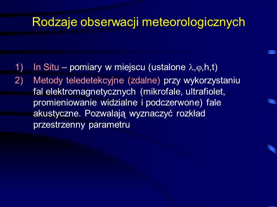 Rodzaje obserwacji meteorologicznych 1)In Situ – pomiary w miejscu (ustalone,,h,t) 2)Metody teledetekcyjne (zdalne) przy wykorzystaniu fal elektromagnetycznych (mikrofale, ultrafiolet, promieniowanie widzialne i podczerwone) fale akustyczne.