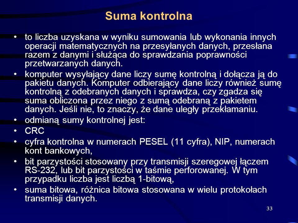 33 Suma kontrolna to liczba uzyskana w wyniku sumowania lub wykonania innych operacji matematycznych na przesyłanych danych, przesłana razem z danymi i służąca do sprawdzania poprawności przetwarzanych danych.