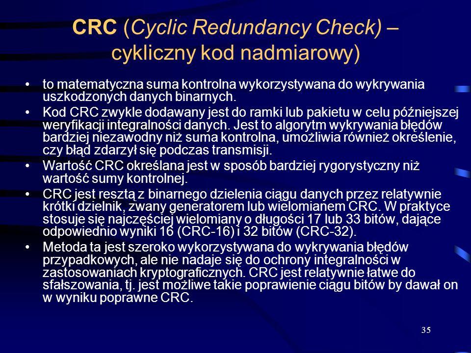35 CRC (Cyclic Redundancy Check) – cykliczny kod nadmiarowy) to matematyczna suma kontrolna wykorzystywana do wykrywania uszkodzonych danych binarnych.