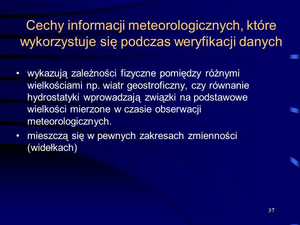 37 Cechy informacji meteorologicznych, które wykorzystuje się podczas weryfikacji danych wykazują zależności fizyczne pomiędzy różnymi wielkościami np.