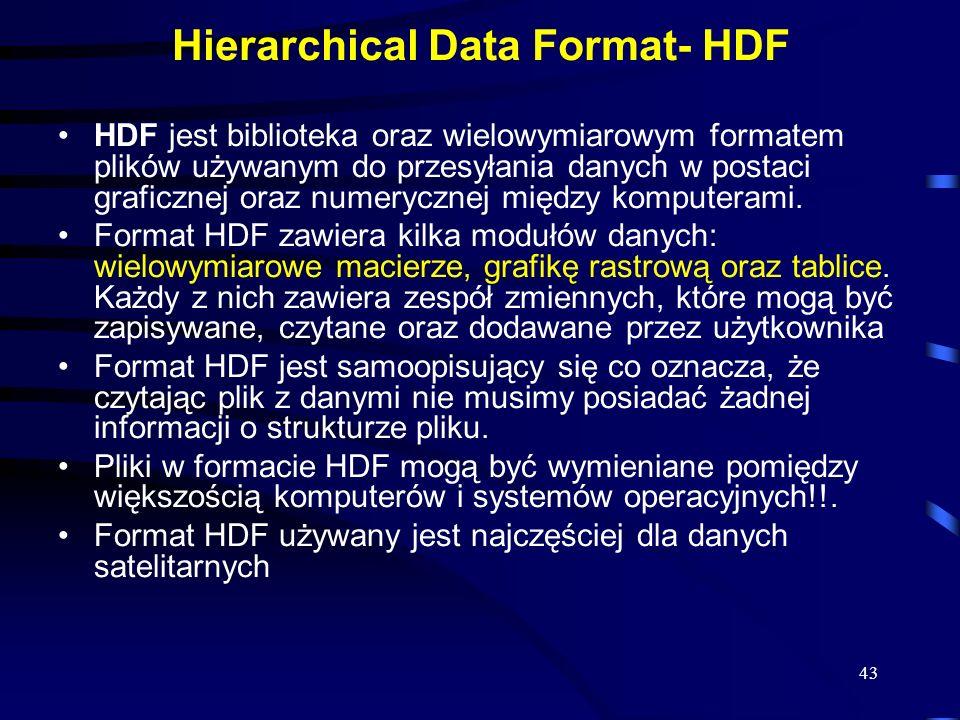 43 Hierarchical Data Format- HDF HDF jest biblioteka oraz wielowymiarowym formatem plików używanym do przesyłania danych w postaci graficznej oraz numerycznej między komputerami.