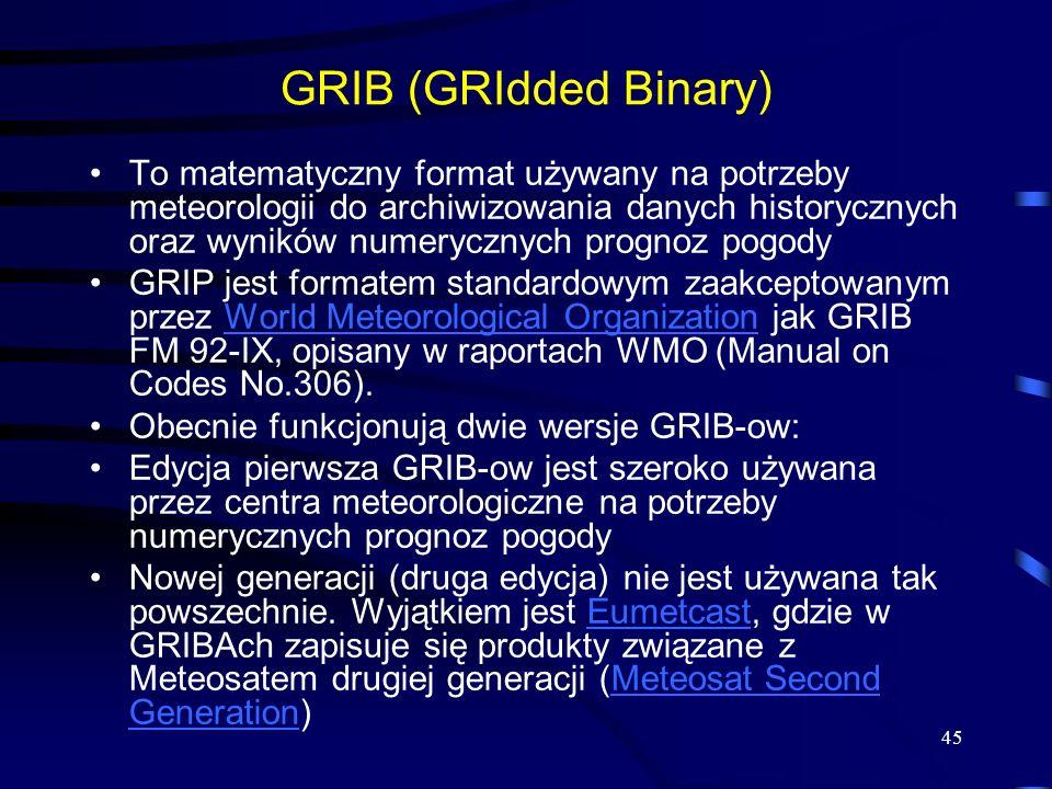 45 GRIB (GRIdded Binary) To matematyczny format używany na potrzeby meteorologii do archiwizowania danych historycznych oraz wyników numerycznych prognoz pogody GRIP jest formatem standardowym zaakceptowanym przez World Meteorological Organization jak GRIB FM 92-IX, opisany w raportach WMO (Manual on Codes No.306).World Meteorological Organization Obecnie funkcjonują dwie wersje GRIB-ow: Edycja pierwsza GRIB-ow jest szeroko używana przez centra meteorologiczne na potrzeby numerycznych prognoz pogody Nowej generacji (druga edycja) nie jest używana tak powszechnie.