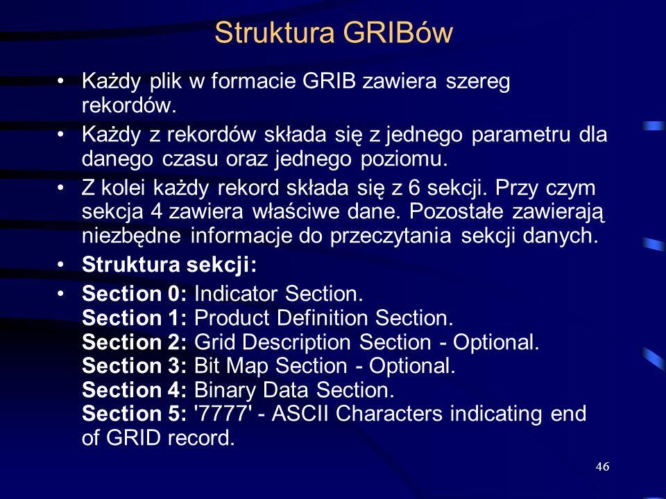 46 Struktura GRIBów Każdy plik w formacie GRIB zawiera szereg rekordów.