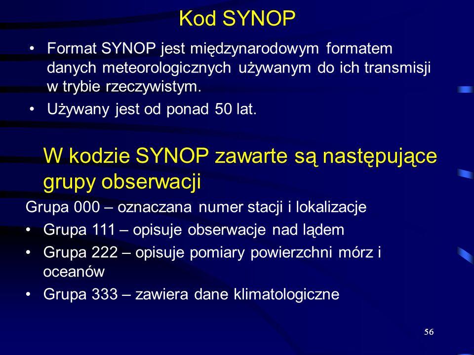 56 Kod SYNOP Format SYNOP jest międzynarodowym formatem danych meteorologicznych używanym do ich transmisji w trybie rzeczywistym.