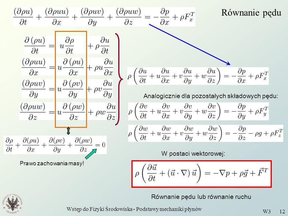 Wstęp do Fizyki Środowiska - Podstawy mechaniki płynów W3 12 Równanie pędu Prawo zachowania masy! Analogicznie dla pozostałych składowych pędu: W post