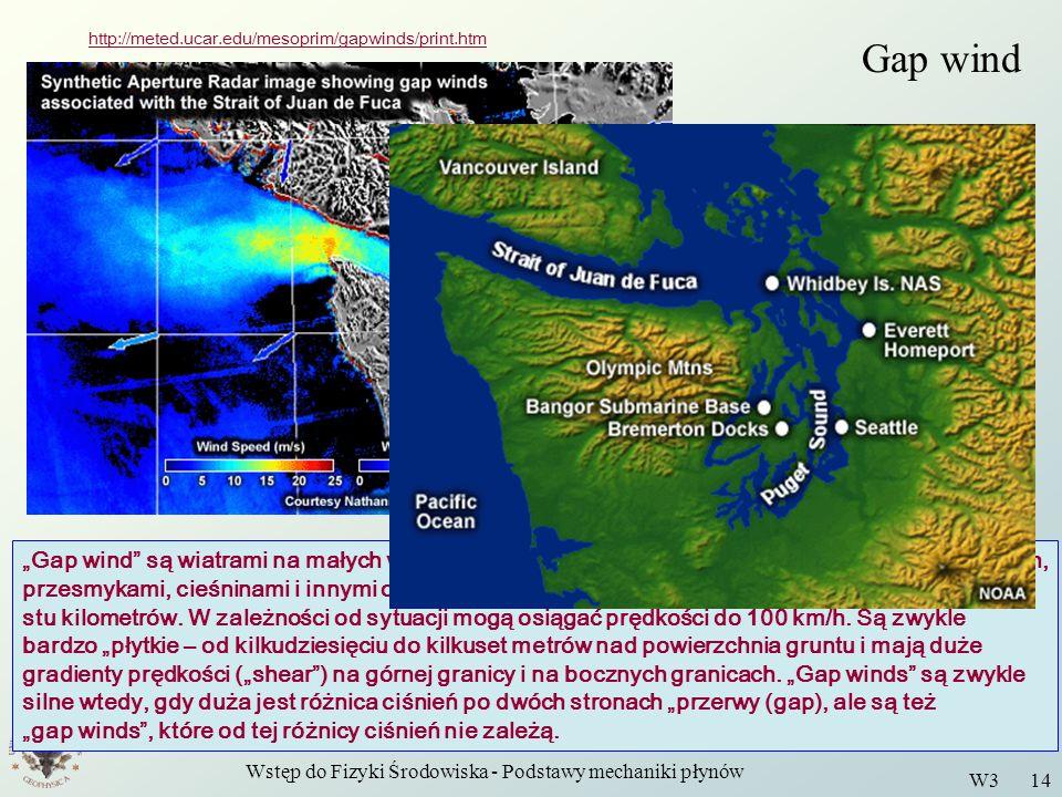 Wstęp do Fizyki Środowiska - Podstawy mechaniki płynów W3 14 Gap wind http://meted.ucar.edu/mesoprim/gapwinds/print.htm Gap wind są wiatrami na małych