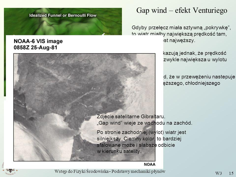 Wstęp do Fizyki Środowiska - Podstawy mechaniki płynów W3 15 Gap wind – efekt Venturiego Gdyby przełęcz miała sztywną pokrywkę, to wiatr miałby najwię