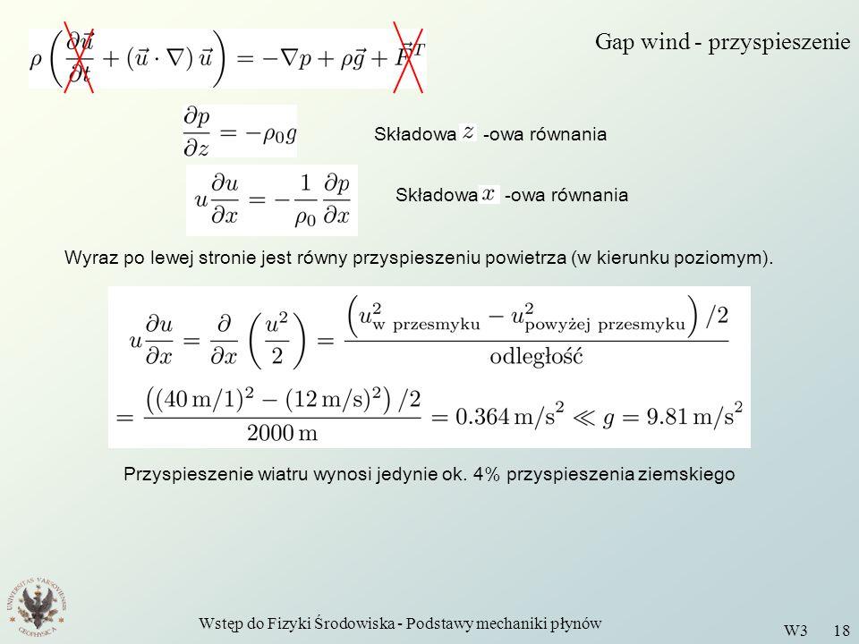 Wstęp do Fizyki Środowiska - Podstawy mechaniki płynów W3 18 Gap wind - przyspieszenie Składowa -owa równania Wyraz po lewej stronie jest równy przysp