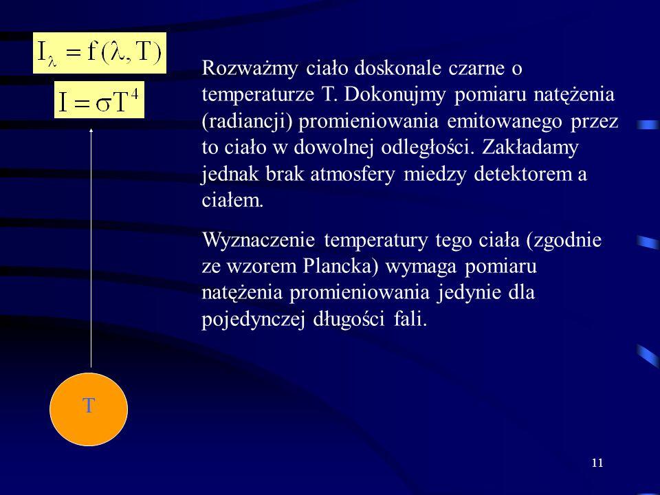11 T Rozważmy ciało doskonale czarne o temperaturze T.