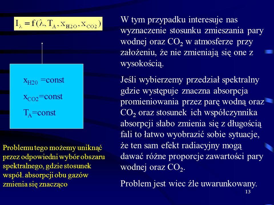 13 x H20 =const x CO2 =const T A =const W tym przypadku interesuje nas wyznaczenie stosunku zmieszania pary wodnej oraz CO 2 w atmosferze przy założeniu, że nie zmieniają się one z wysokością.