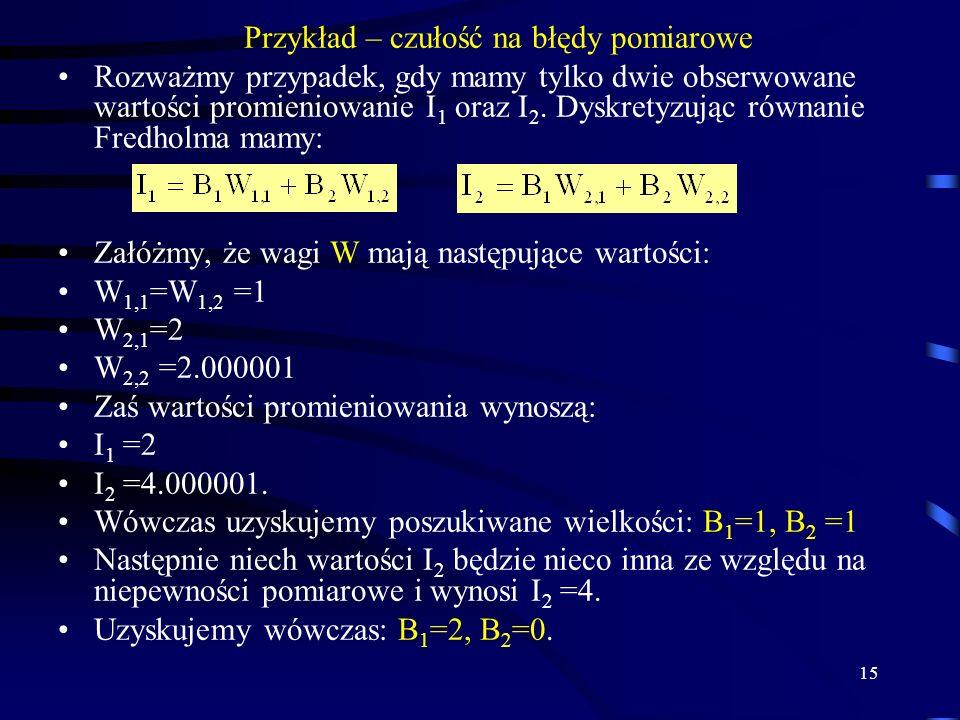 15 Przykład – czułość na błędy pomiarowe Rozważmy przypadek, gdy mamy tylko dwie obserwowane wartości promieniowanie I 1 oraz I 2.