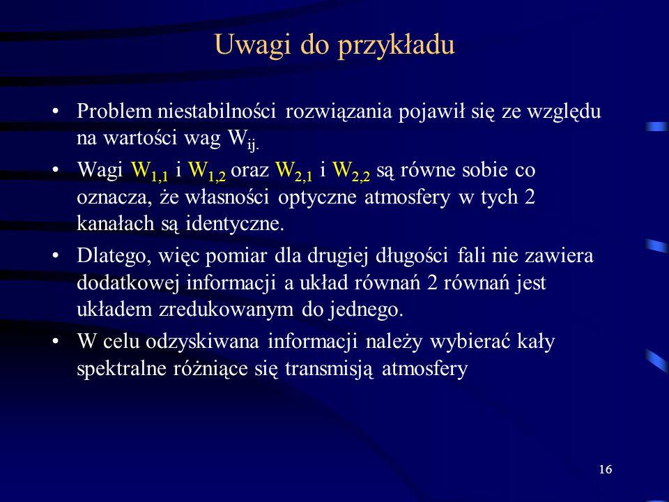 16 Uwagi do przykładu Problem niestabilności rozwiązania pojawił się ze względu na wartości wag W ij.