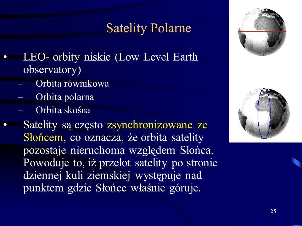25 Satelity Polarne LEO- orbity niskie (Low Level Earth observatory) –Orbita równikowa –Orbita polarna –Orbita skośna Satelity są często zsynchronizowane ze Słońcem, co oznacza, że orbita satelity pozostaje nieruchoma względem Słońca.