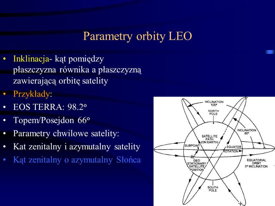 27 Parametry orbity LEO Inklinacja- kąt pomiędzy płaszczyzna równika a płaszczyzną zawierającą orbitę satelity Przykłady: EOS TERRA: 98.2 o Topem/Posejdon 66 o Parametry chwilowe satelity: Kat zenitalny i azymutalny satelity Kąt zenitalny o azymutalny Słońca