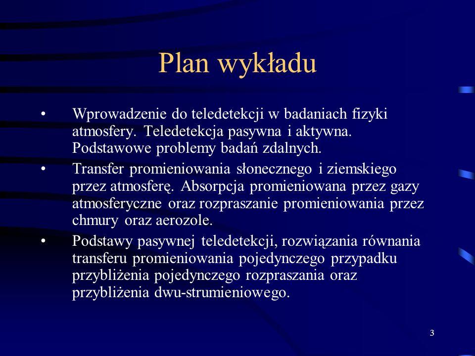 3 Plan wykładu Wprowadzenie do teledetekcji w badaniach fizyki atmosfery.
