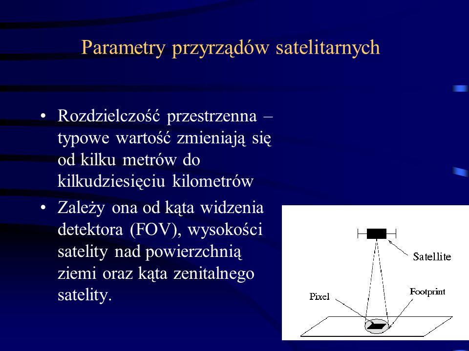 30 Parametry przyrządów satelitarnych Rozdzielczość przestrzenna – typowe wartość zmieniają się od kilku metrów do kilkudziesięciu kilometrów Zależy ona od kąta widzenia detektora (FOV), wysokości satelity nad powierzchnią ziemi oraz kąta zenitalnego satelity.