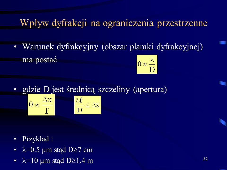 32 Wpływ dyfrakcji na ograniczenia przestrzenne Warunek dyfrakcyjny (obszar plamki dyfrakcyjnej) ma postać gdzie D jest średnicą szczeliny (apertura) Przykład : =0.5 m stąd D 7 cm =10 m stąd D 1.4 m