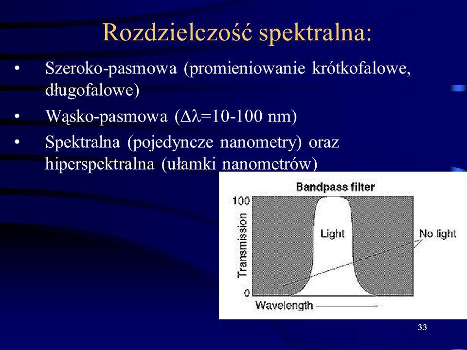 33 Rozdzielczość spektralna: Szeroko-pasmowa (promieniowanie krótkofalowe, długofalowe) Wąsko-pasmowa ( =10-100 nm) Spektralna (pojedyncze nanometry) oraz hiperspektralna (ułamki nanometrów)