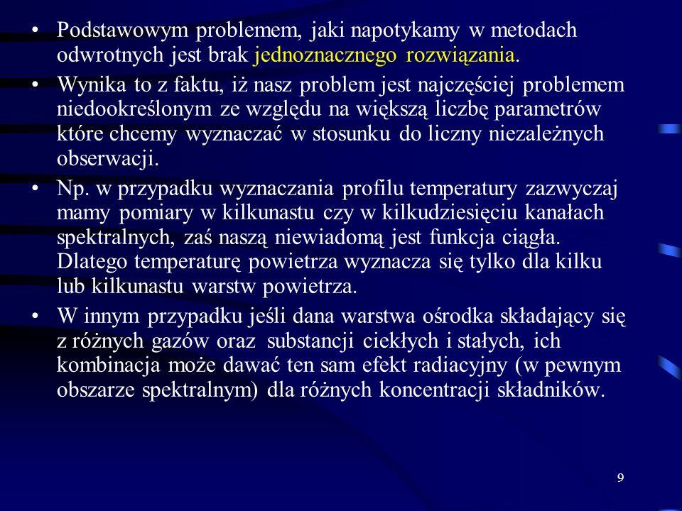 9 Podstawowym problemem, jaki napotykamy w metodach odwrotnych jest brak jednoznacznego rozwiązania.