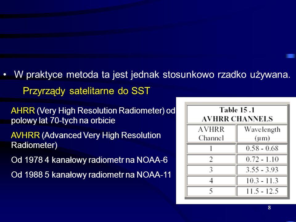 8 W praktyce metoda ta jest jednak stosunkowo rzadko używana. AHRR (Very High Resolution Radiometer) od polowy lat 70-tych na orbicie AVHRR (Advanced