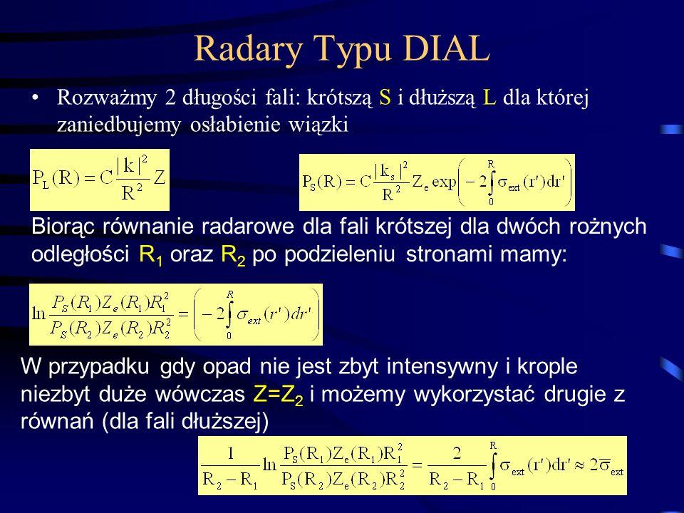 19 Radary Typu DIAL Rozważmy 2 długości fali: krótszą S i dłuższą L dla której zaniedbujemy osłabienie wiązki Biorąc równanie radarowe dla fali krótszej dla dwóch rożnych odległości R 1 oraz R 2 po podzieleniu stronami mamy: W przypadku gdy opad nie jest zbyt intensywny i krople niezbyt duże wówczas Z=Z 2 i możemy wykorzystać drugie z równań (dla fali dłuższej)