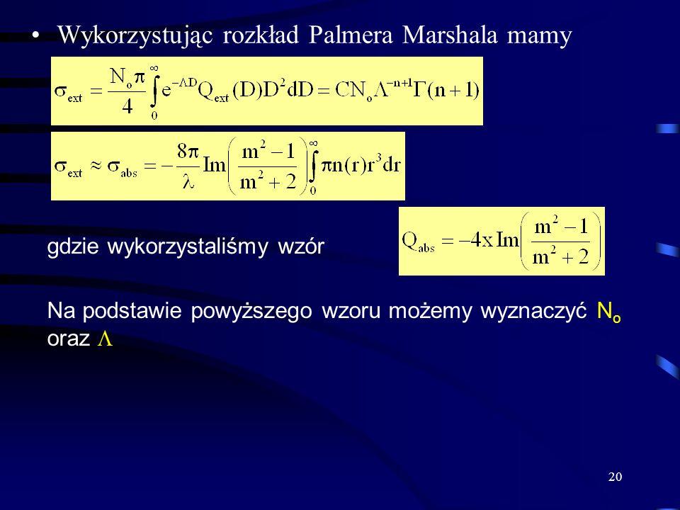 20 Wykorzystując rozkład Palmera Marshala mamy gdzie wykorzystaliśmy wzór Na podstawie powyższego wzoru możemy wyznaczyć N o oraz