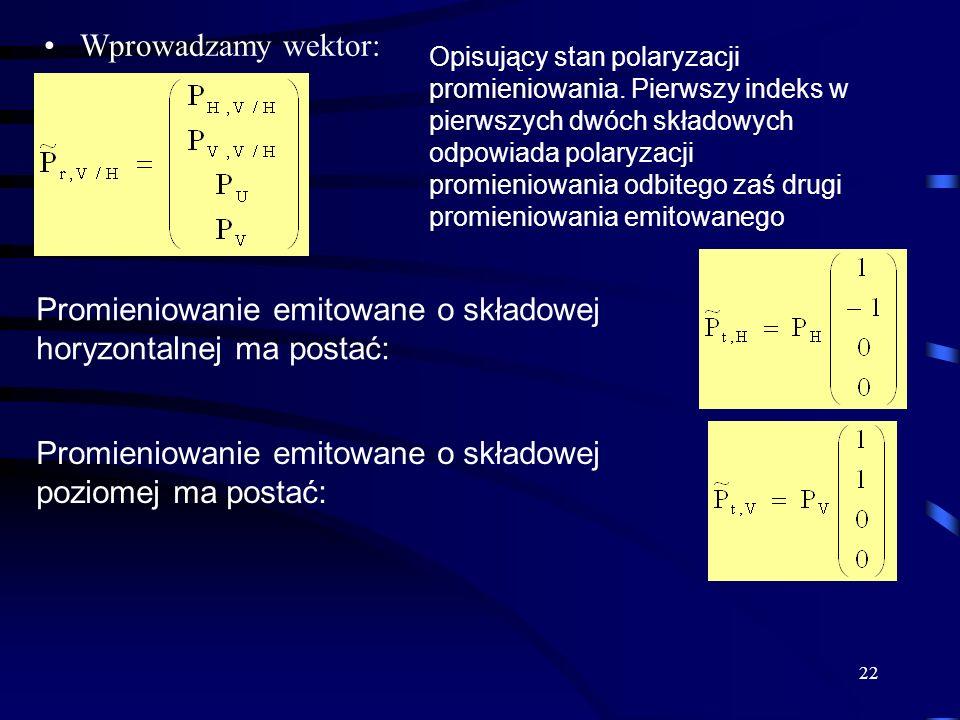 22 Wprowadzamy wektor: Opisujący stan polaryzacji promieniowania.
