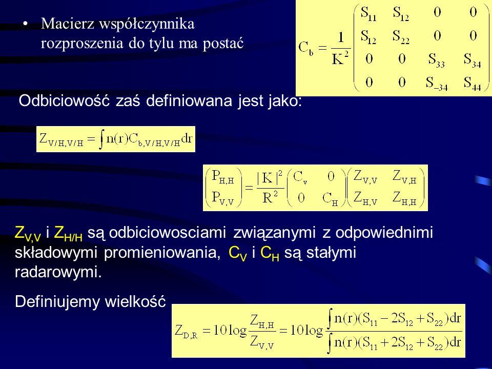23 Macierz współczynnika rozproszenia do tylu ma postać Odbiciowość zaś definiowana jest jako: Z V,V i Z H/H są odbiciowosciami związanymi z odpowiednimi składowymi promieniowania, C V i C H są stałymi radarowymi.