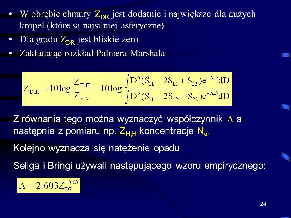 24 W obrębie chmury Z DR jest dodatnie i największe dla dużych kropel (które są najsilniej asferyczne) Dla gradu Z DR jest bliskie zero Zakładając rozkład Palmera Marshala Z równania tego można wyznaczyć współczynnik a następnie z pomiaru np.