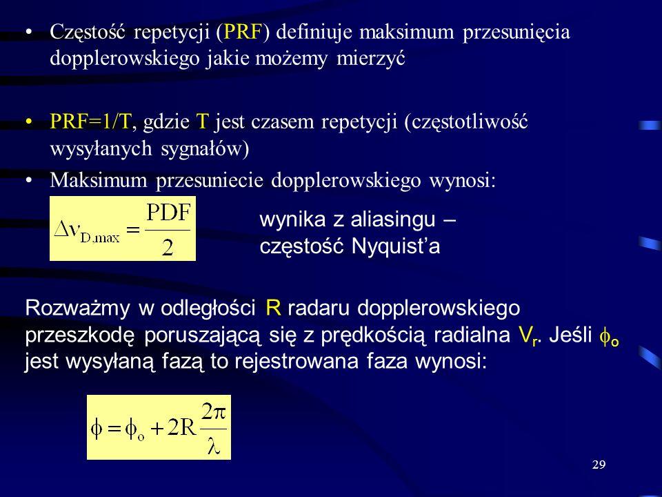 29 Częstość repetycji (PRF) definiuje maksimum przesunięcia dopplerowskiego jakie możemy mierzyć PRF=1/T, gdzie T jest czasem repetycji (częstotliwość wysyłanych sygnałów) Maksimum przesuniecie dopplerowskiego wynosi: wynika z aliasingu – częstość Nyquista Rozważmy w odległości R radaru dopplerowskiego przeszkodę poruszającą się z prędkością radialna V r.