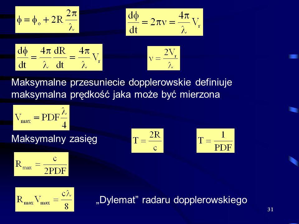 31 Maksymalne przesuniecie dopplerowskie definiuje maksymalna prędkość jaka może być mierzona Maksymalny zasięg Dylemat radaru dopplerowskiego