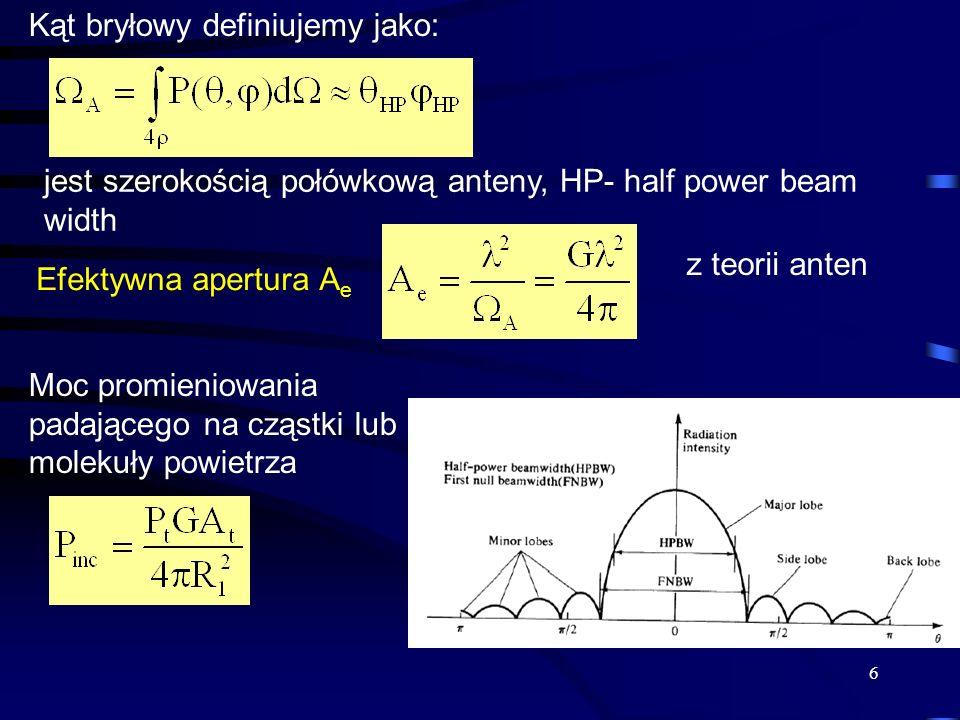 6 Kąt bryłowy definiujemy jako: jest szerokością połówkową anteny, HP- half power beam width Efektywna apertura A e Moc promieniowania padającego na cząstki lub molekuły powietrza z teorii anten