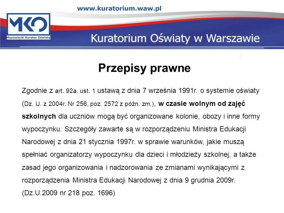 Przepisy prawne Zgodnie z art. 92a. ust. 1 ustawą z dnia 7 września 1991r. o systemie oświaty ( Dz. U. z 2004r. Nr 256, poz. 2572 z późn. zm.), w czas