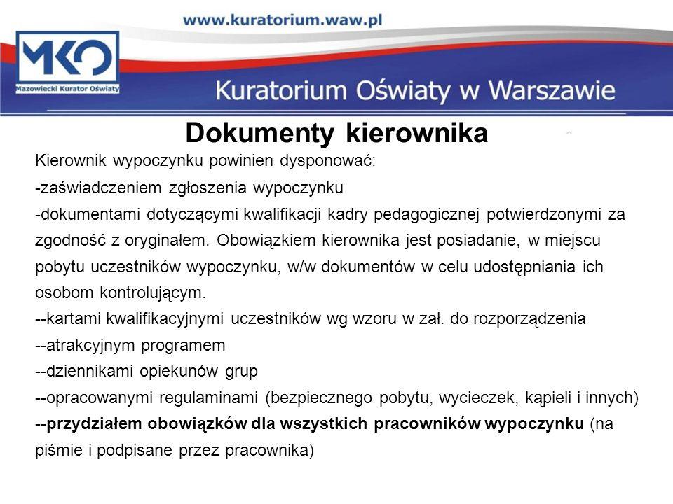 Dokumenty kierownika Kierownik wypoczynku powinien dysponować: -zaświadczeniem zgłoszenia wypoczynku -dokumentami dotyczącymi kwalifikacji kadry pedag