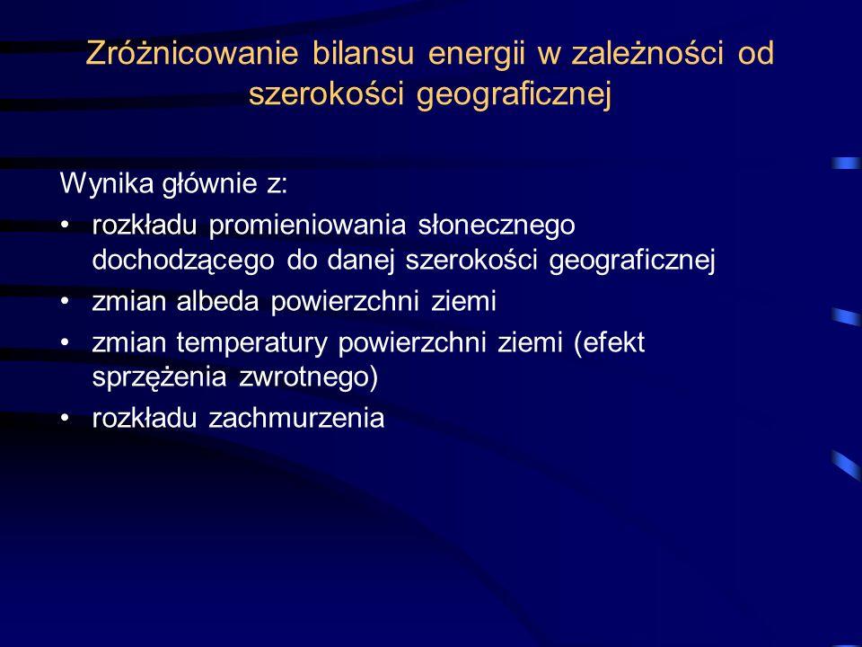 Zróżnicowanie bilansu energii w zależności od szerokości geograficznej Wynika głównie z: rozkładu promieniowania słonecznego dochodzącego do danej sze