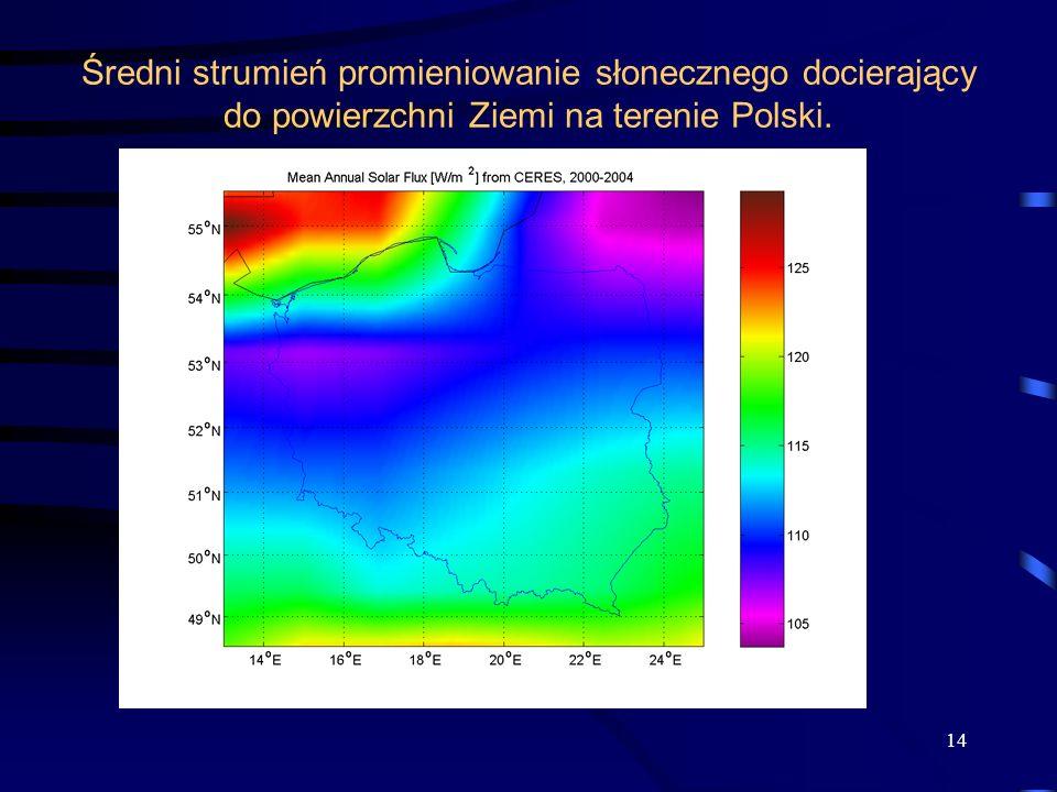 Średni strumień promieniowanie słonecznego docierający do powierzchni Ziemi na terenie Polski. 14