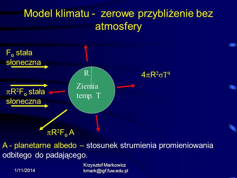 1/11/2014 Krzysztof Markowicz kmark@igf.fuw.edu.pl 4 R 2 σT 4 R 2 F o A A - planetarne albedo – stosunek strumienia promieniowania odbitego do padając