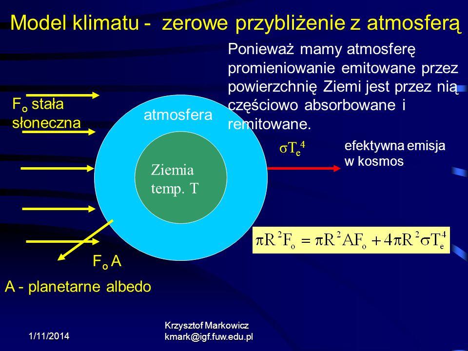 1/11/2014 Krzysztof Markowicz kmark@igf.fuw.edu.pl σTe4σTe4 F o A A - planetarne albedo F o stała słoneczna Model klimatu - zerowe przybliżenie z atmo
