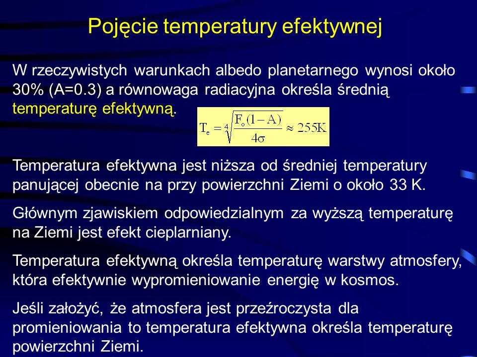 Pojęcie temperatury efektywnej W rzeczywistych warunkach albedo planetarnego wynosi około 30% (A=0.3) a równowaga radiacyjna określa średnią temperatu