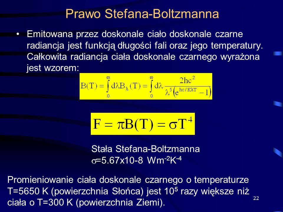 Emitowana przez doskonale ciało doskonale czarne radiancja jest funkcją długości fali oraz jego temperatury. Całkowita radiancja ciała doskonale czarn