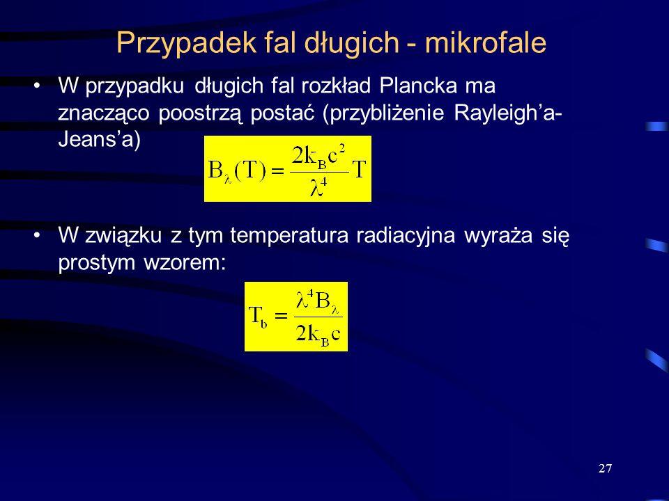 Przypadek fal długich - mikrofale W przypadku długich fal rozkład Plancka ma znacząco poostrzą postać (przybliżenie Rayleigha- Jeansa) W związku z tym