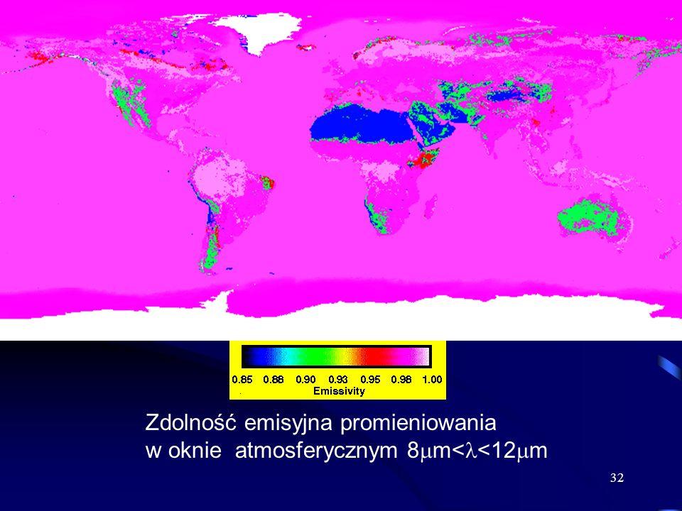 32 Zdolność emisyjna promieniowania w oknie atmosferycznym 8 m< <12 m