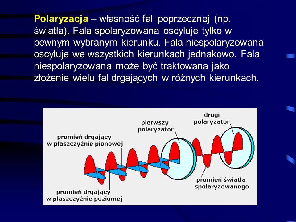 Polaryzacja – własność fali poprzecznej (np. światła). Fala spolaryzowana oscyluje tylko w pewnym wybranym kierunku. Fala niespolaryzowana oscyluje we