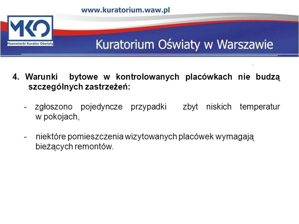 4. Warunki bytowe w kontrolowanych placówkach nie budzą szczególnych zastrzeżeń: - zgłoszono pojedyncze przypadki zbyt niskich temperatur w pokojach,