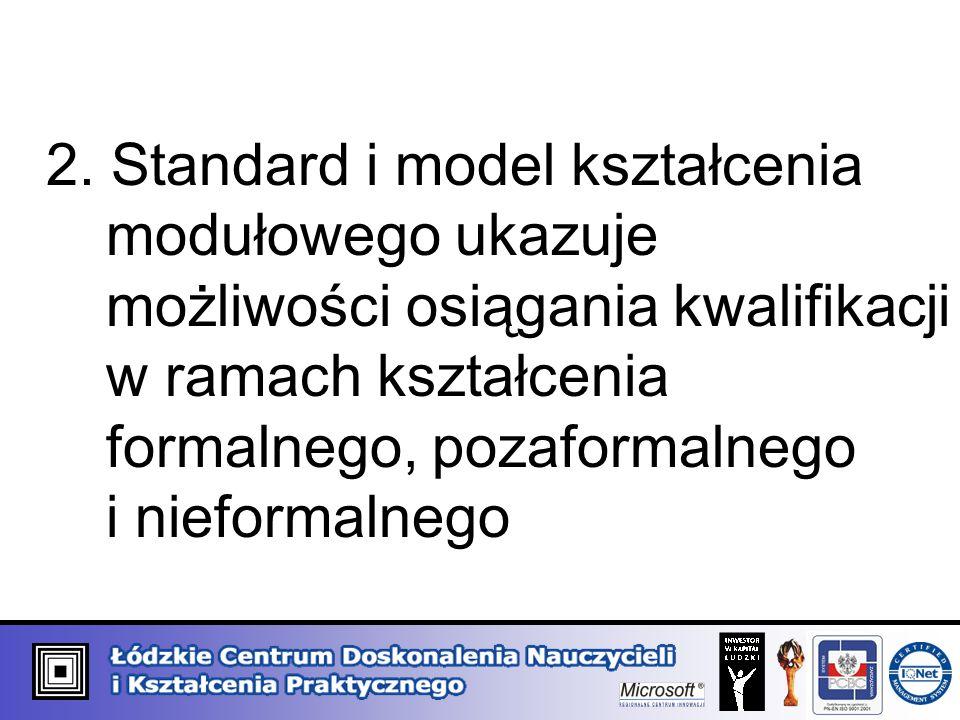2. Standard i model kształcenia modułowego ukazuje możliwości osiągania kwalifikacji w ramach kształcenia formalnego, pozaformalnego i nieformalnego