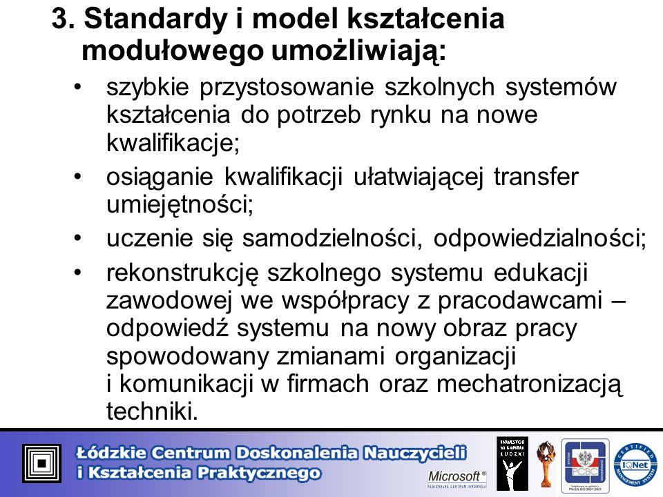 3. Standardy i model kształcenia modułowego umożliwiają: szybkie przystosowanie szkolnych systemów kształcenia do potrzeb rynku na nowe kwalifikacje;
